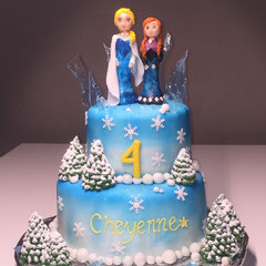 Grosse Frozen Geburtstagstorte mit Elza und Anna