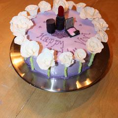 Geburtstagstorte Schminke (Lippenstift und Lidschatten auch aus Zucker)