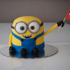 Minions with Swiss flag cake