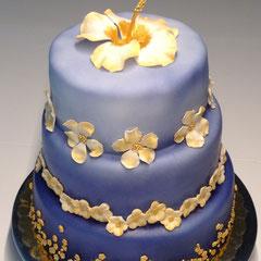 Goldene Blume Geburtstagstorte, golden flower birthday cake, jin hua shang ri dan gao, Kim fah birthday cake