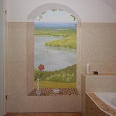 Durch die Malerei entsteht der Eindruck einer realen Nische.