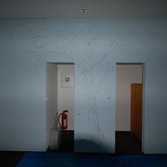 Flurwand mit Vorzeichnung im Gebäude des WWF