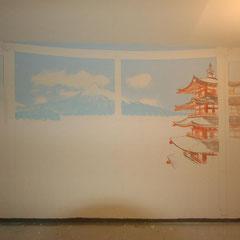 Japanische Landschaft in der Anfangsphase des farbigen Vorzeichnens