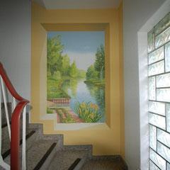 Wandbild im Treppenflur mit Flußlandschaft