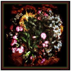"""Foulard soie """"Bouquet tournesol"""" 90x90 cm"""