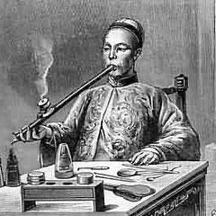 Fumeur d'opium en Chine fin XVIIIème siècle.