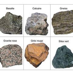 Différentes roches utilisées pour la construction des murs