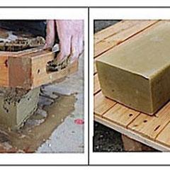Brique de terre crue (terre+eau chauffée et moulée).