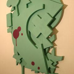 8 Steps - Sprühlack auf Holz, 85 x 65 cm