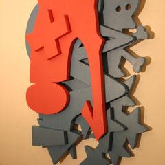 Skully - Sprühlack auf Holz, 85 x 65 cm