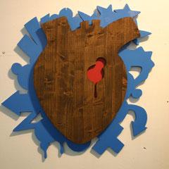 Herzi - Sprühlack und Lasur auf Holz, 85 x 85 cm