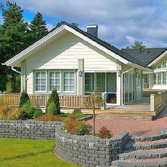 Massivholzhaus in Weiß - Blockhaus als Einfamilienhaus - Wittstock/Dosse - Rheinsberg