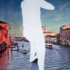 Blick auf Venedig,2013, Collage, Bleistift, 42 X 59 cm