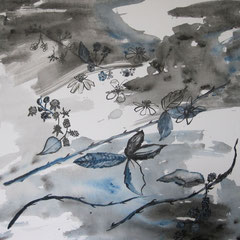 Brombeerzweige, 2016, Aquarell und Tusche auf Leinwand, 50 x 50 cm