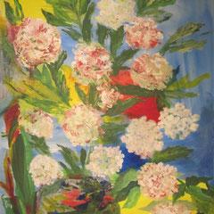 Hortensienzweig in Vase, 2016, Acryl auf Leinwand, 60 x 80 cm