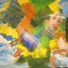 Komposition in Grün, 2014, Acryl auf Papier, 60 x 50 cm