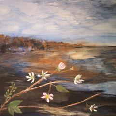 Brombeerbusch in den Dünen, 2016, Acryl auf Leinwand, 80 x 60 cm