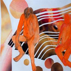 Bei Fischen, 2013, Collage, Acryl, Aquarell, 42 X 59 cm