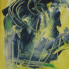 """""""Pflanze im Wind"""", 2018, Acryl auf Leinwand, 24 x 19 cm"""