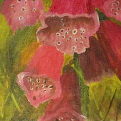 Fingerhutblüten, 2016, Acryl auf Leinwandkarton, 2016, 18 x 13 cm