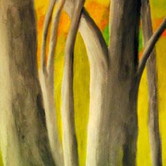 Baumstämme im Sonnenschein, 2014, Acryl auf Leinwand, 50 x 70 cm
