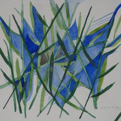 Blüten in Blau, 2017, Aquarell, 30 x 40 cm