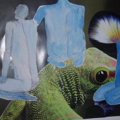 Three Blue Men, 2013, Collage, Aquarell, Bleistift, 36x 24 cm