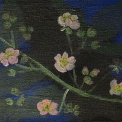 Brombeerzweig mit Blüten I, 2016, Acryl auf Leinwand, 2016, 24 x 18 cm