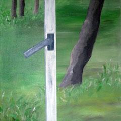 Blick durch das geöffnete Fenster auf Bäume, 2017, Acryl auf Leinwand, 40 x 50 cm