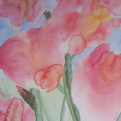 Gladiolen, 1999, Aquarell auf Papier, 35 x 45 cm