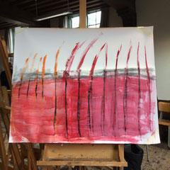 Acrylverf en potlood op papier