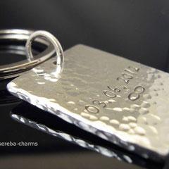massiver, schwerer Schlüsselanhänger aus Sterlingsilber mit Gravur