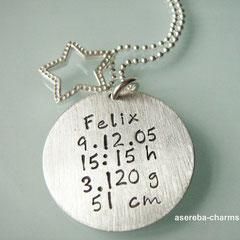 """Das perfekte Geschenk für die Mami zur Geburt: """"Sterne fallen nicht..."""" + Rückseite mit Namen, Geburtsdatum, Uhrzeit, Gewicht und Größe"""
