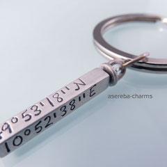 Schlüsselanhänger Silberbarren (925 Silber) inklusive Gravur & mit rundem Schlüsselring