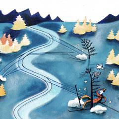 Dessin humoristique aquarelle ski de fond