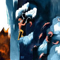 Dessin humoristique aquarelle cascade de glace