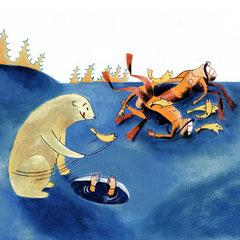 Dessin humoristique aquarelle plongée sous glace