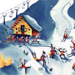 Dessin humoristique aquarelle ski de randonnée