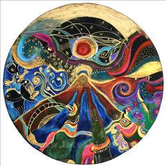 Aandom - diam 50cm - 2009 - Pastels Gras et Ors - Toute reproduction interdite