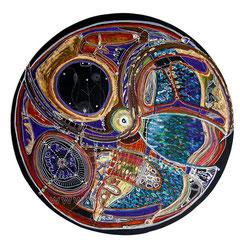 Initiales IS - diam 50cm - 2009 - Pastels Gras et Ors - Toute reproduction interdite