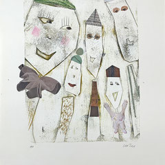 Zeitgenössische Monotypie - Din A3-  Motivgröße: 25 x 20 cm (Blatt Din A3) - sepia/koloriert/collagiert  - naturweißem Papier;  170 g/m2, säurefrei, farbecht, licht- und alterungsbeständig - Titel: König mit Clowns