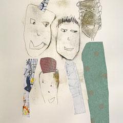 Zeitgenössische Monotypie - Din A3 -  Motivgröße: 25 x 20 cm (Blatt Din A3) - sepia/koloriert/collagiert  - naturweißem Papier;  170 g/m2, säurefrei, farbecht, licht- und alterungsbeständig - Titel: Die Party