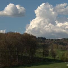 Blick vom Hauseingang zum Golfplatzgelände