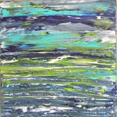 """""""Wolkenwasserfall"""", 50 x 50 cm, Acryl/Mischtechnik auf LW,"""
