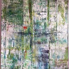 """Zeitblüten I"", 160 x 120 cm, Acryl/Mischtechnik auf LW"