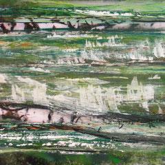 """LAKE"", 51 x 115 cm, Acryl/Mischtechnik auf Acrylglas,"