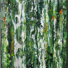 """""""Waldwächter"""", 60 x 50 cm, Acryl/Mischtechnik auf Holzkörper,"""