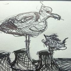 Discussion entre oiseaux sur les toits Dessin au stylo 15x21 cm 2016