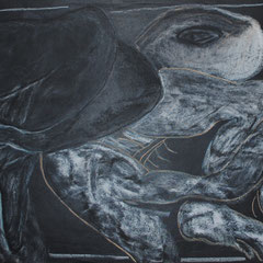 Tortues  65*50 cm  Craie blanche, sanguine sur papier noir tissu 2020