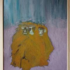 Macaques de Barbarie 1 50x40 cm acrylique sur carton entoilé 2019